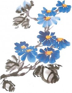 Li fleur pétale courbe stage de peinture chinoise