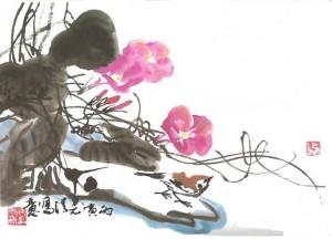 Peinture avec oiseau Initiation à la peinture