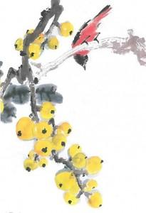 Raisin cerises avec oiseau Initiation à la peinture